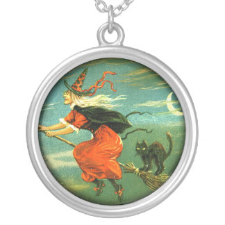Crone Witch With Her Cat And Broom Round Pendant Necklace