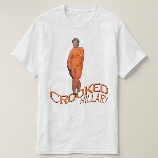 Crooked Hillary Clinton Orange Black T-Shirt