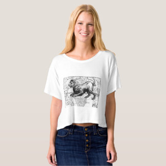 Cropped Boxy T-shirt with Vintage Star Map Leo