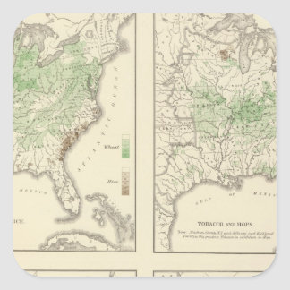 Crops Statistical US Lithograph Square Stickers