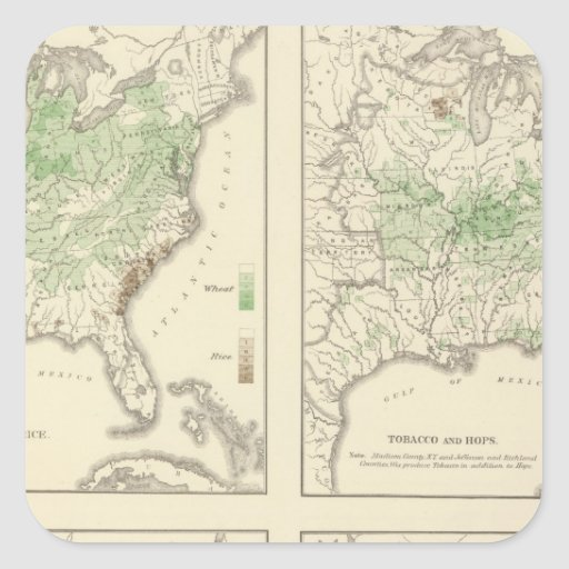 Crops, Statistical US Lithograph Square Stickers