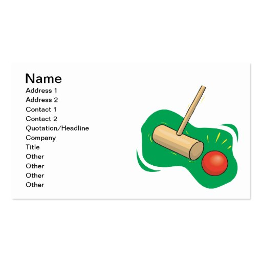 Croquet Club And Ball Business Card Templates