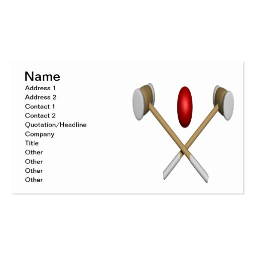 Croquet Clubs And Ball Business Card