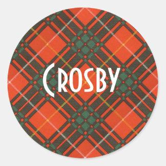 Crosby clan Plaid Scottish tartan Round Sticker