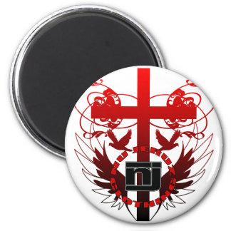 cross2 6 cm round magnet