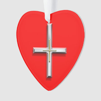 Cross Acrylic Heart Ornament