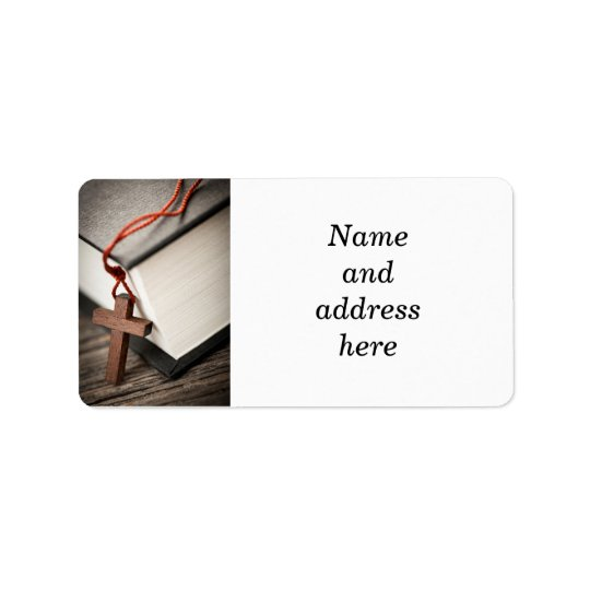 Cross and Bible Address Label
