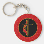 Cross and Flame Key Chain