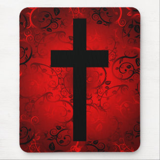 CROSS AND FLORAL RED PATTERN MOUSE MAT