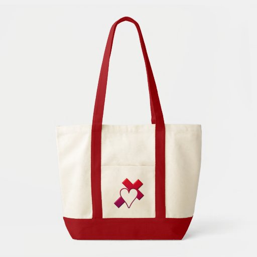 Cross and heart #1 ( 3-D Red / purple ) Bags
