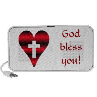 Cross and heart #3 ( Cross inside red heart ) PC Speakers