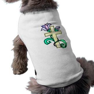 Cross and Lilies Sleeveless Dog Shirt