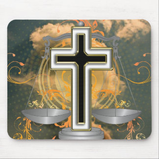 Cross and Scales Mouse Pad