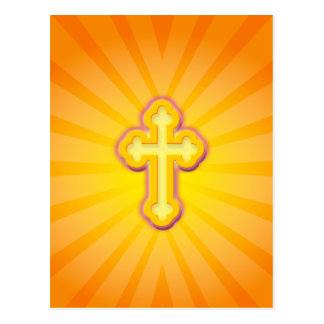CROSS AND SUN RAYS POSTCARD