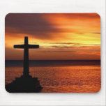 cross and sunset  mousepad