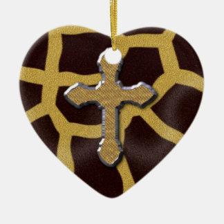 Cross Animal Print Giraffe Patern Christmas Ornament