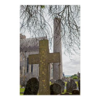cross at ancient graveyard poster