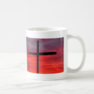 Cross at sunrise coffee mug
