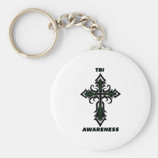 Cross/Awareness...TBI Basic Round Button Key Ring