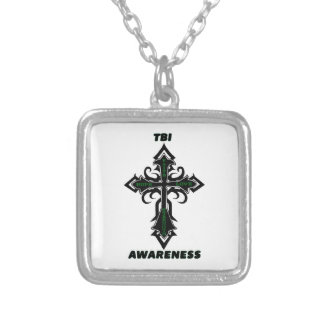 Cross/Awareness...TBI Silver Plated Necklace