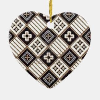 Cross Batik Ceramic Heart Decoration