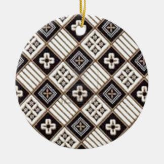Cross Batik Round Ceramic Decoration
