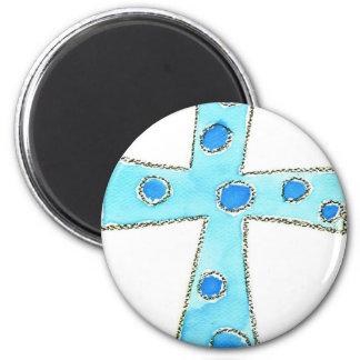 Cross Blue Polka Dot 6 Cm Round Magnet