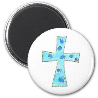 Cross Blue Polka Dot Magnet