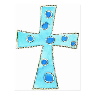 Cross Blue Polka Dot Postcard