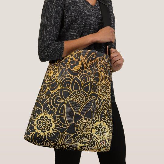 Cross Body Bag Floral Doodle Gold G523