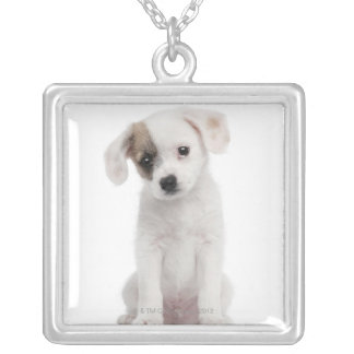 Cross breed puppy (2 months old) square pendant necklace