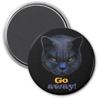 Cross Cat says Go Away Magnets