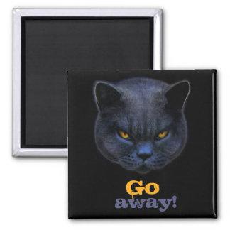 Cross Cat says Go Away Refrigerator Magnet