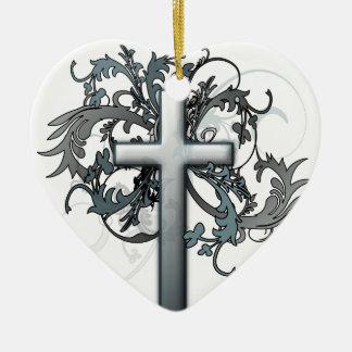 Cross Ceramic Heart Decoration