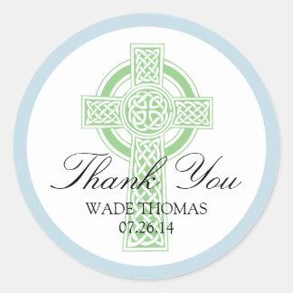CROSS Christening, Shower or First Communion Round Sticker