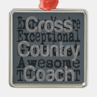 Cross Country Coach Extraordinaire Silver-Colored Square Decoration