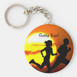 CROSS COUNTRY - GOTTA RUN - STAMP - SUNSET BASIC ROUND BUTTON KEY RING