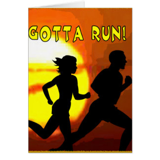 CROSS COUNTRY - GOTTA RUN - STAMP - SUNSET GREETING CARD