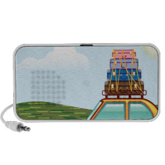 Cross Country Hippy Travel Vector Notebook Speakers