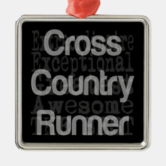 Cross Country Runner Extraordinaire Silver-Colored Square Decoration