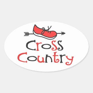 Cross Country Runner Oval Sticker