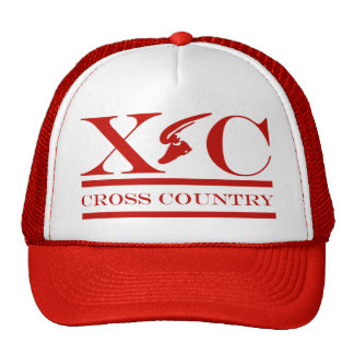 Cross Country Running Red Design Hat