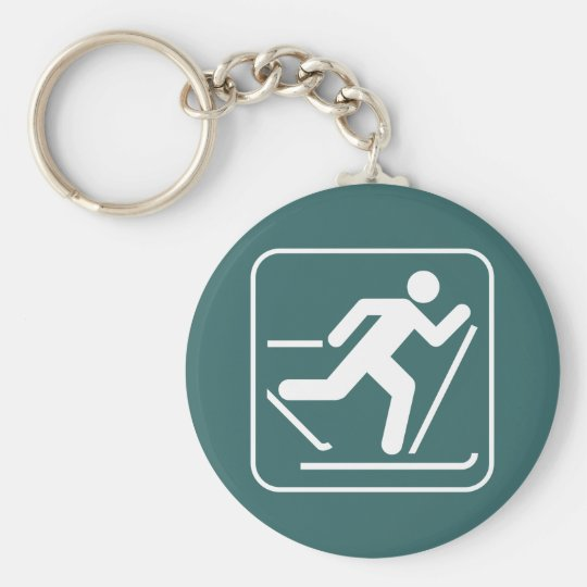 Cross Country Ski Symbol Keychain