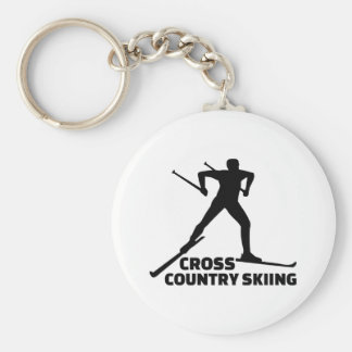 Cross country skiing basic round button key ring