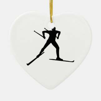 Cross country skiing ceramic heart decoration