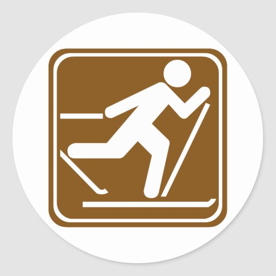 Cross Country Skiing Highway Sign Classic Round Sticker