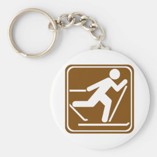 Cross Country Skiing Highway Sign Key Ring