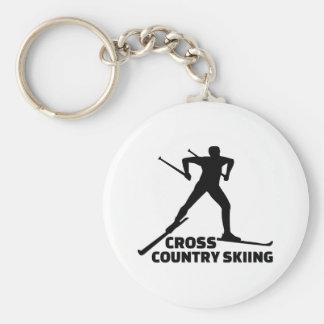 Cross country skiing key ring