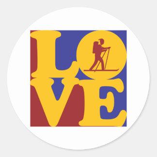 Cross Country Skiing Love Round Sticker