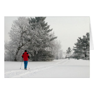 Cross Country Skiing on a Frosty Day Greeting Card